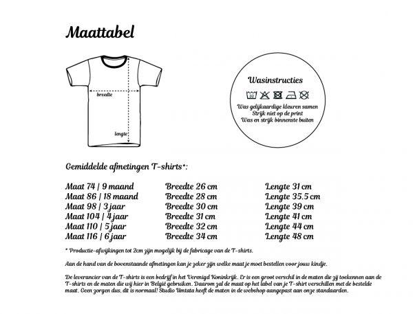 Maattabel T-shirts Studio Umtata