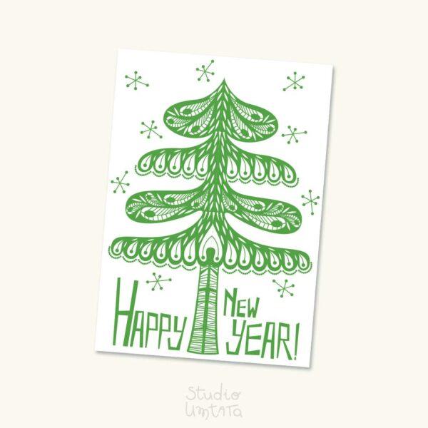 Orignele retro kerstkaart Dennenboom
