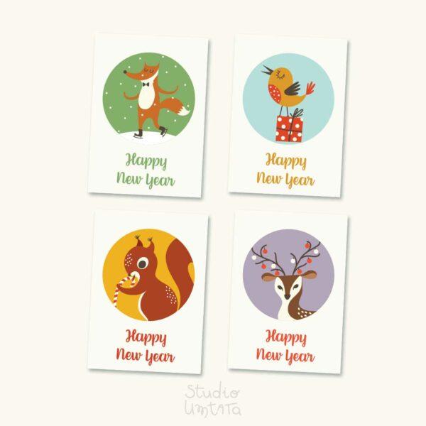 Kleurrijke en schattige kerstkaarten met dieren