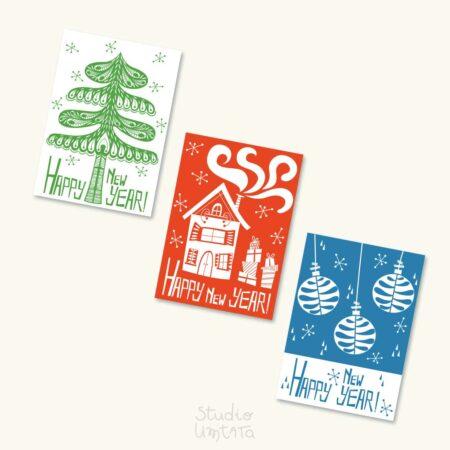 Originele retro kerstkaarten Dennenboom Huis Kerstballen