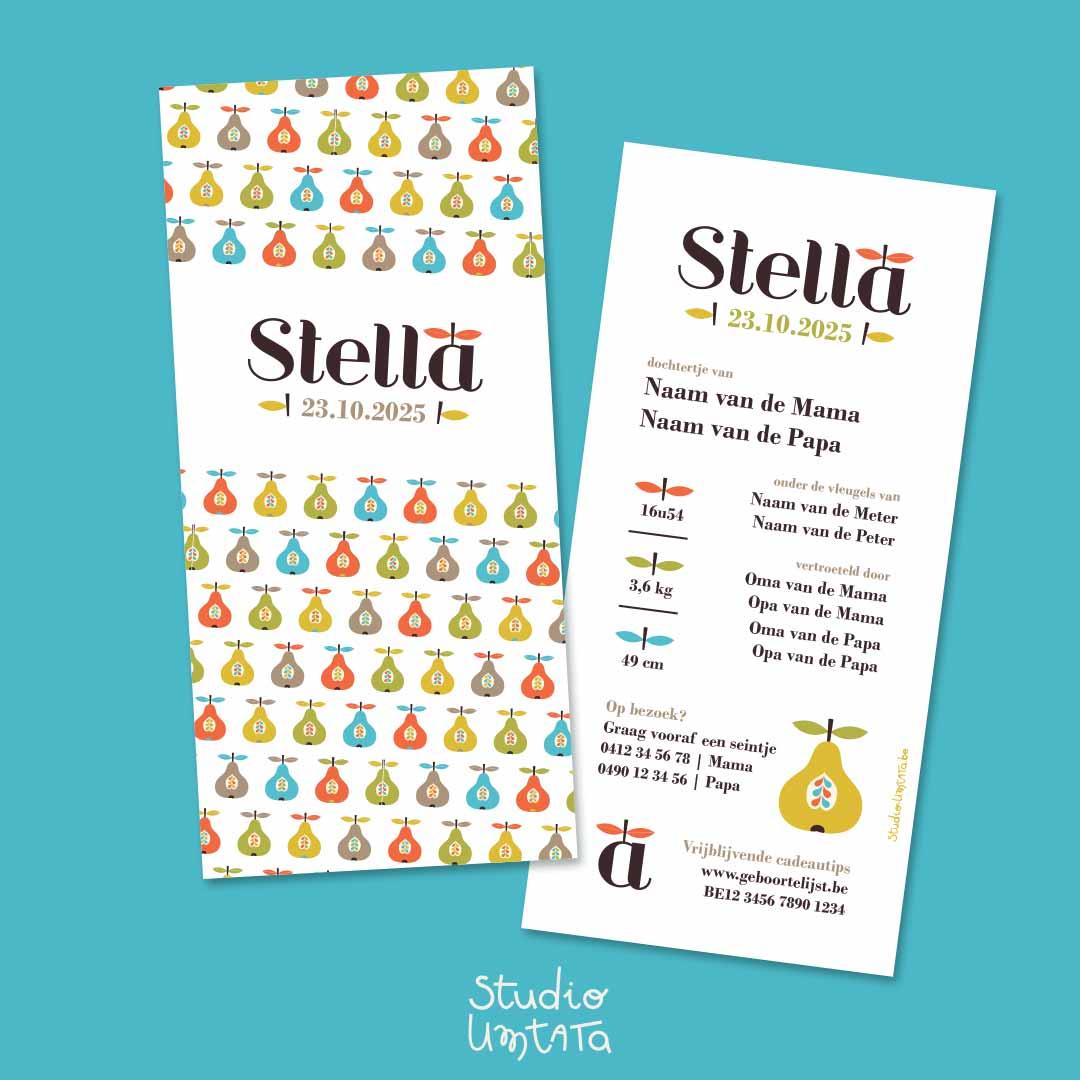 Geboortekaartje Stella - Retro peren print