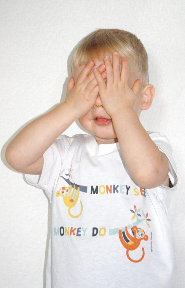 Monkey see monkey do T-shirt met vrolijke aapjest