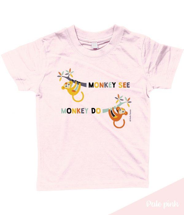 Grappig 'Monkey see monkey do' T-shirt met leuke apen - Roos