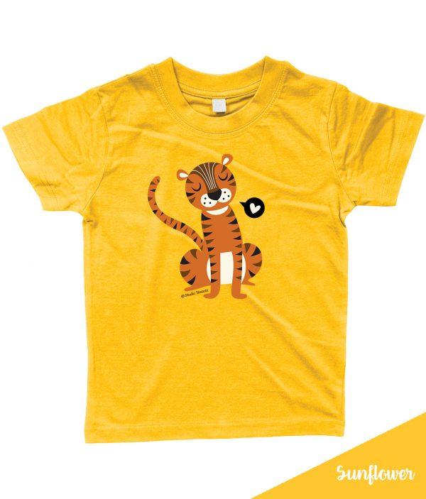 Retro 'Tiger love' T-shirt met lieve tijger - Geel