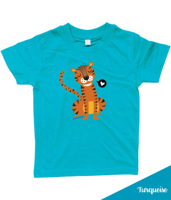 Retro 'Tiger love' T-shirt met lieve tijger - Turquoise