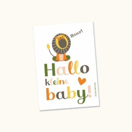 Wenskaart geboorte leeuw hallo kleine baby