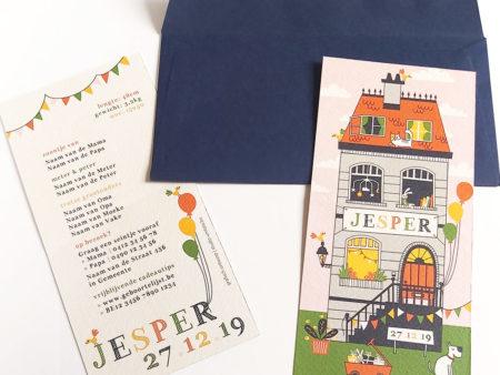 Geboortekaartje Jesper Huis met balonnen