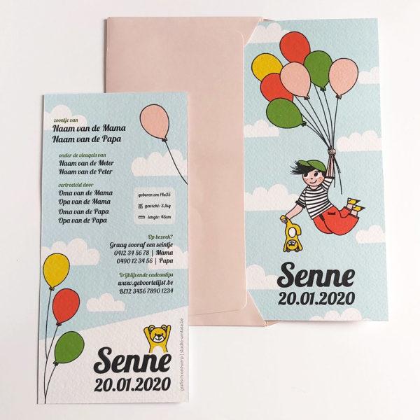 Geboortekaartje Senne Vliegen met balonnen 2