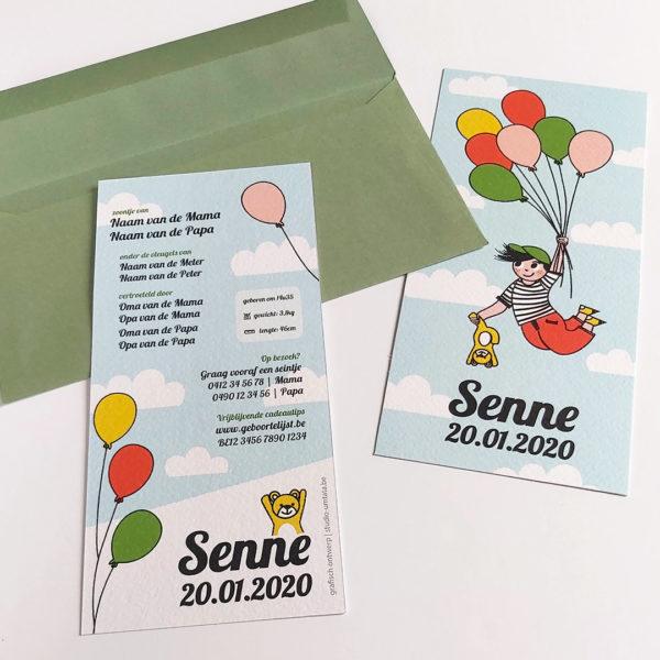 Geboortekaartje Senne Vliegen met balonnen 3