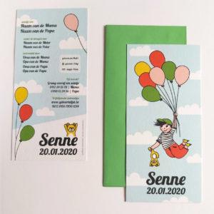 Geboortekaartje Senne Vliegen met balonnen 4