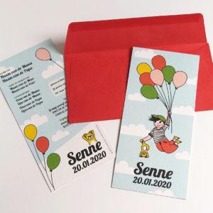 Geboortekaartje Senne Vliegen met balonnen 5