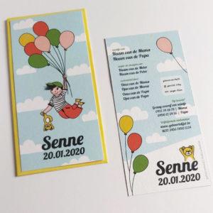 Geboortekaartje Senne Vliegen met balonnen 6