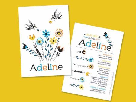 Geboortekaartje Adeline - Retro bloemen met zwaluwen