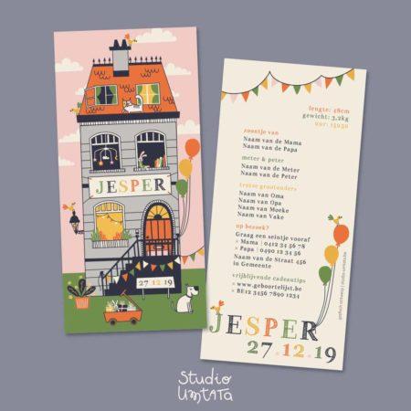 Geboortekaartje Jesper Huis met balonnen 7