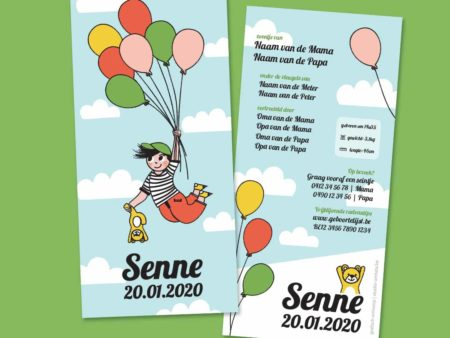Geboortekaartje Senne Vliegen met balonnen