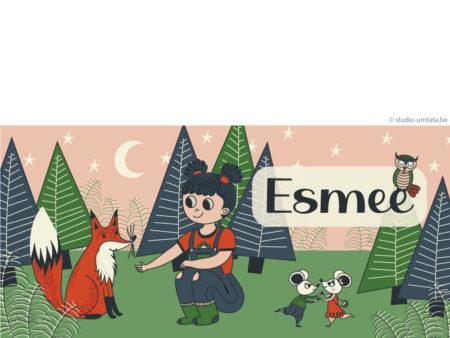 Lief geboortekaartje Esmee met bos, vos en meisje