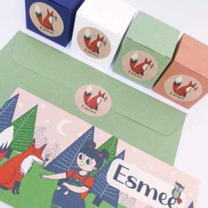 Lief geboortekaartje Esmee Meisje in het bos met vos 1