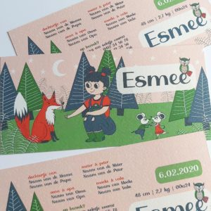 Lief geboortekaartje Esmee Meisje in het bos met vos 2