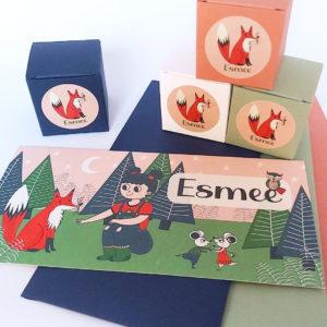 Lief geboortekaartje Esmee Meisje in het bos met vos 3