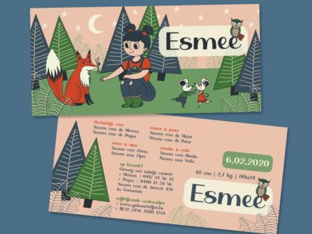 Lief geboortekaartje Esmee Meisje in het bos met vos 4