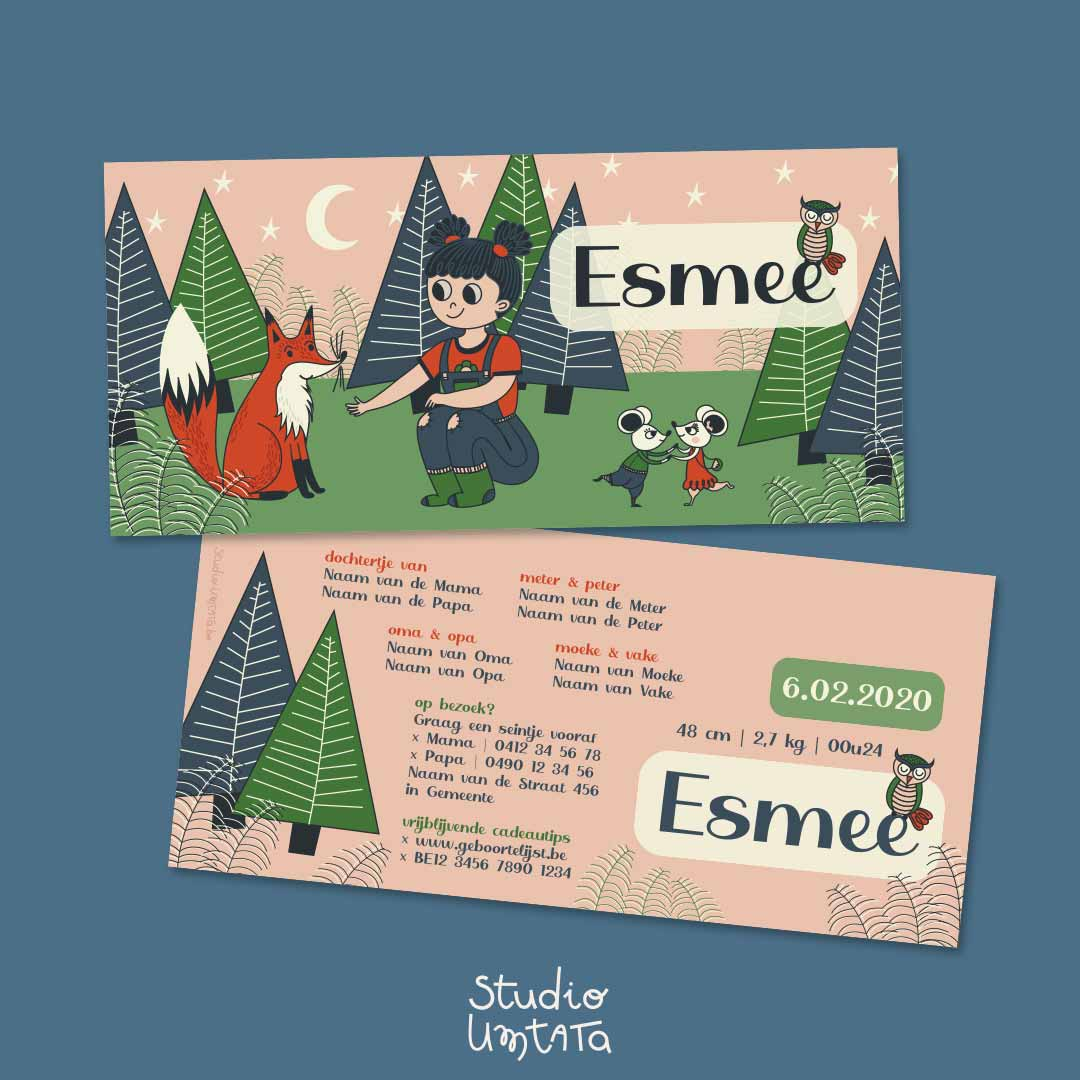 Lief geboortekaartje Esmee Meisje in het bos met vos