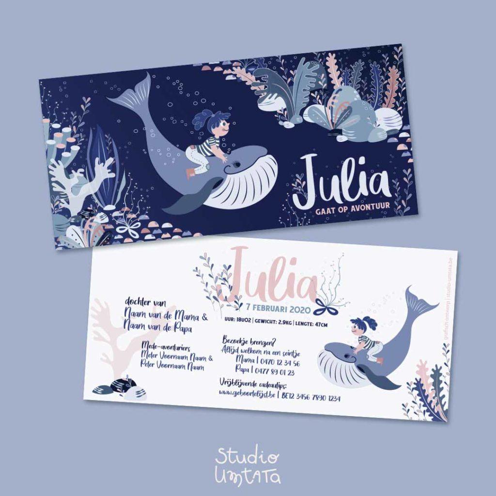Geboortekaartje Julia meisje op walvis in de zee