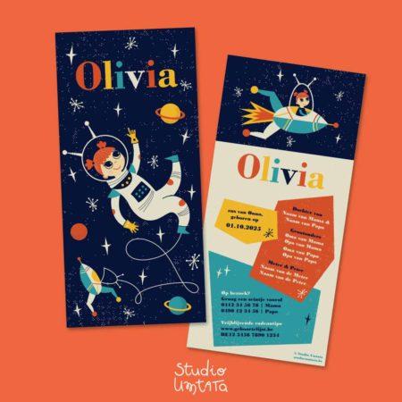 Geboortekaartje Olivia Retro meisje raket astronaut ruimte