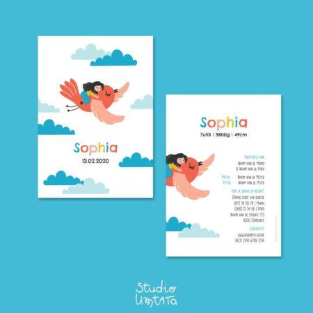 Speels en vrolijk geboortekaartje Sophia Vliegen op vogel