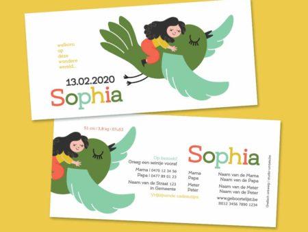 Schattig geboortekaartje Sophia vliegen op vogel