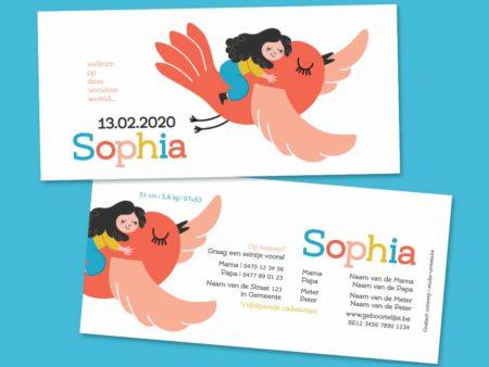Vrolijk geboortekaartje Sophia vliegen op vogel rood