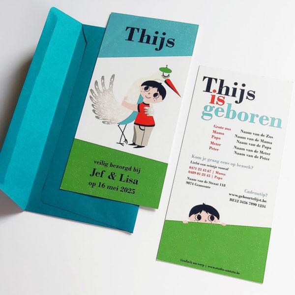 Retro geboortekaartje Thijs met ooievaar