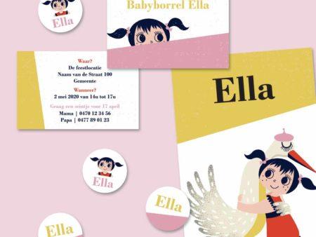 Retro geboortekaartje Ella meisje met ooievaar geel roos