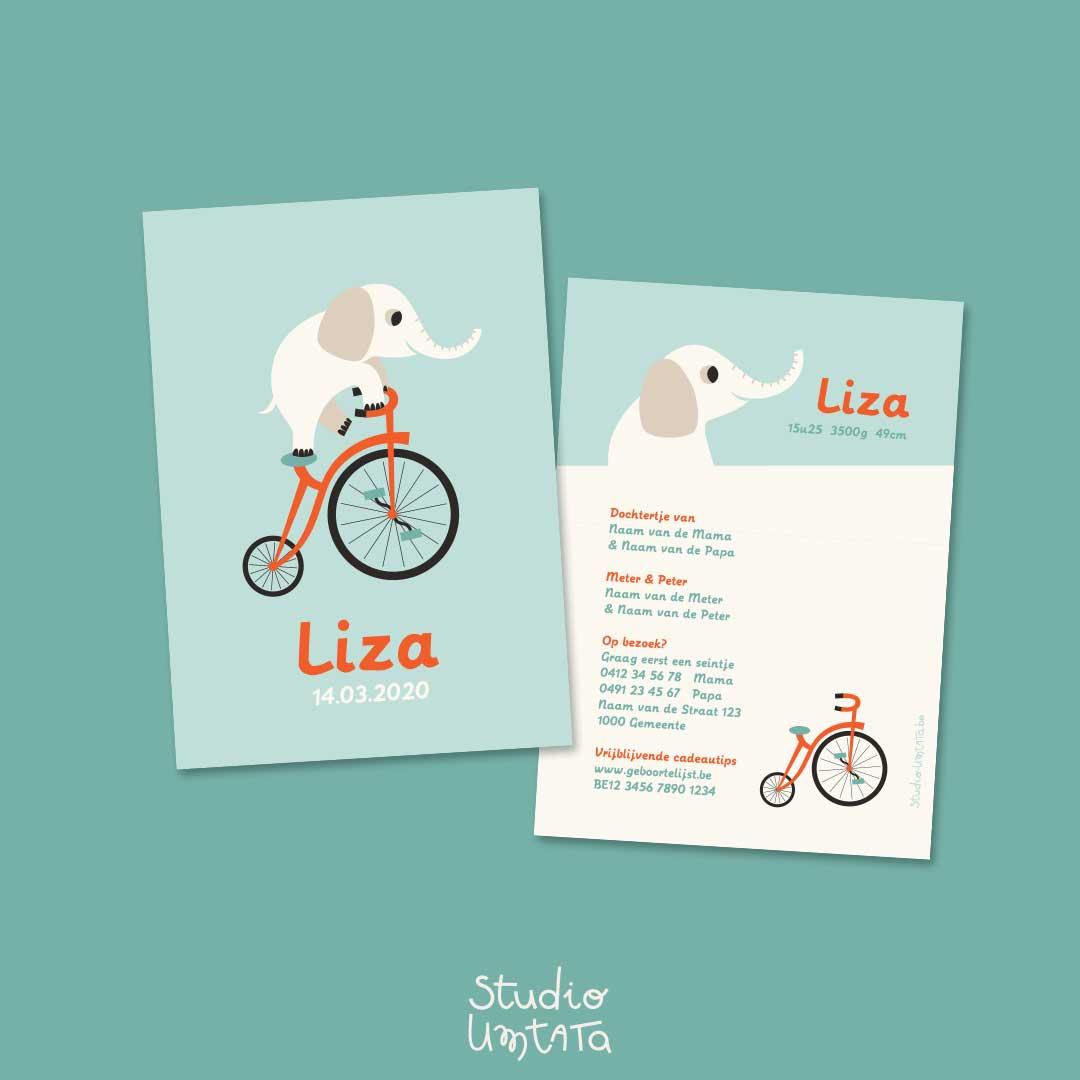 Geboortekaartje Liza Olifant op fiets