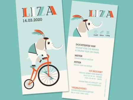 Circus geboortekaartje liza olifant op fiets