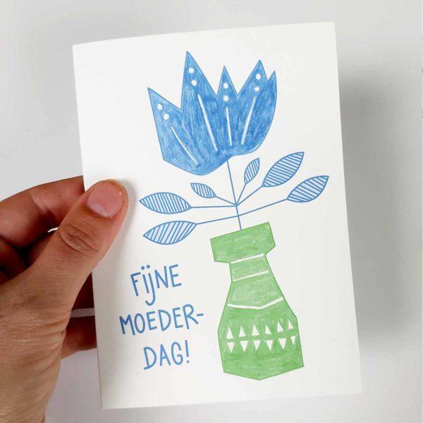 Wenskaart Moederdag Blauwe bloem