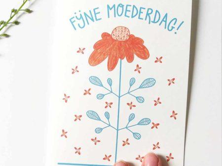 Wenskaart moederdag rode bloem