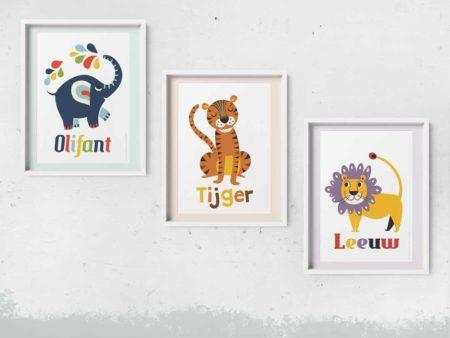 Retro dierenposters olifant tijger leeuw