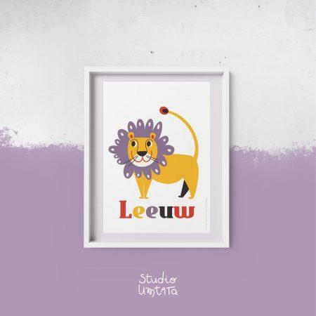 Retro poster leeuw