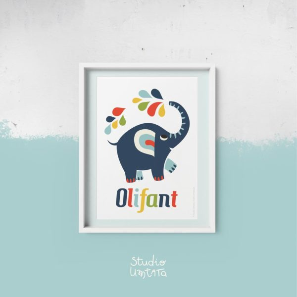 Retro poster olifant