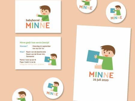 Geboortekaartje meisje met blokken Minne Groen