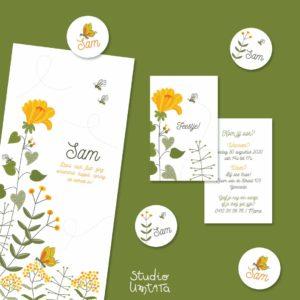 Zomers geboortekaartje Sam met bloemetjes en bijtjes