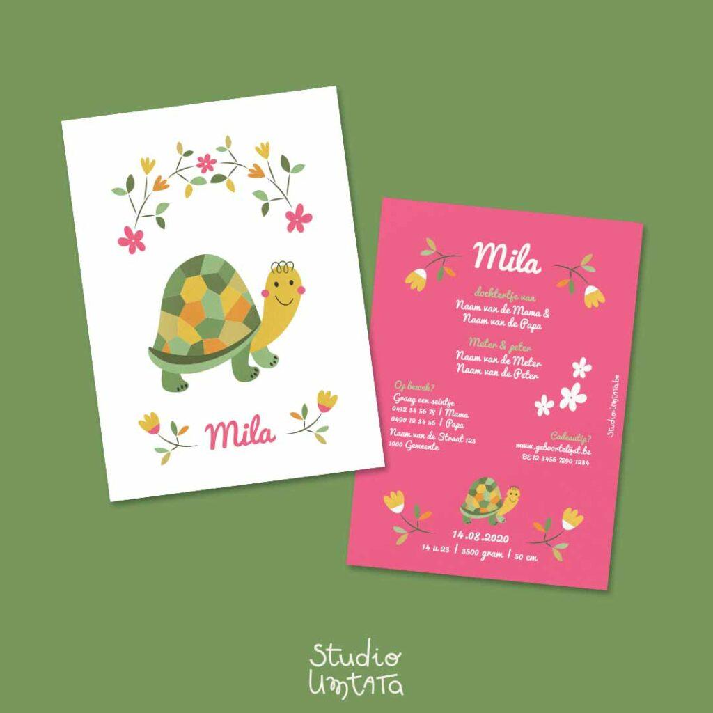 Lief geboortekaartje schildpad Mila