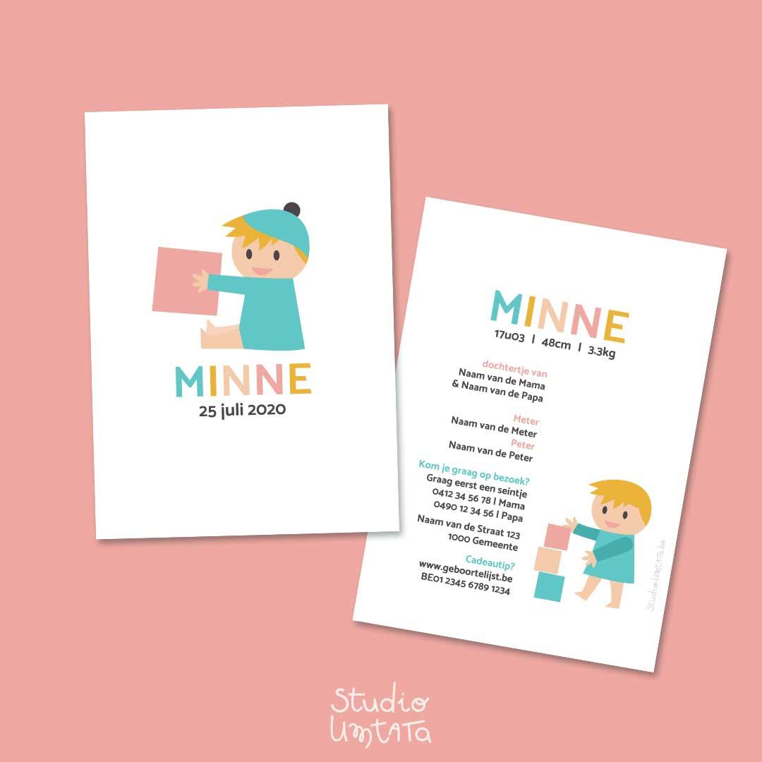 Geboortekaartje meisje met blokken Minne Lichtblauw