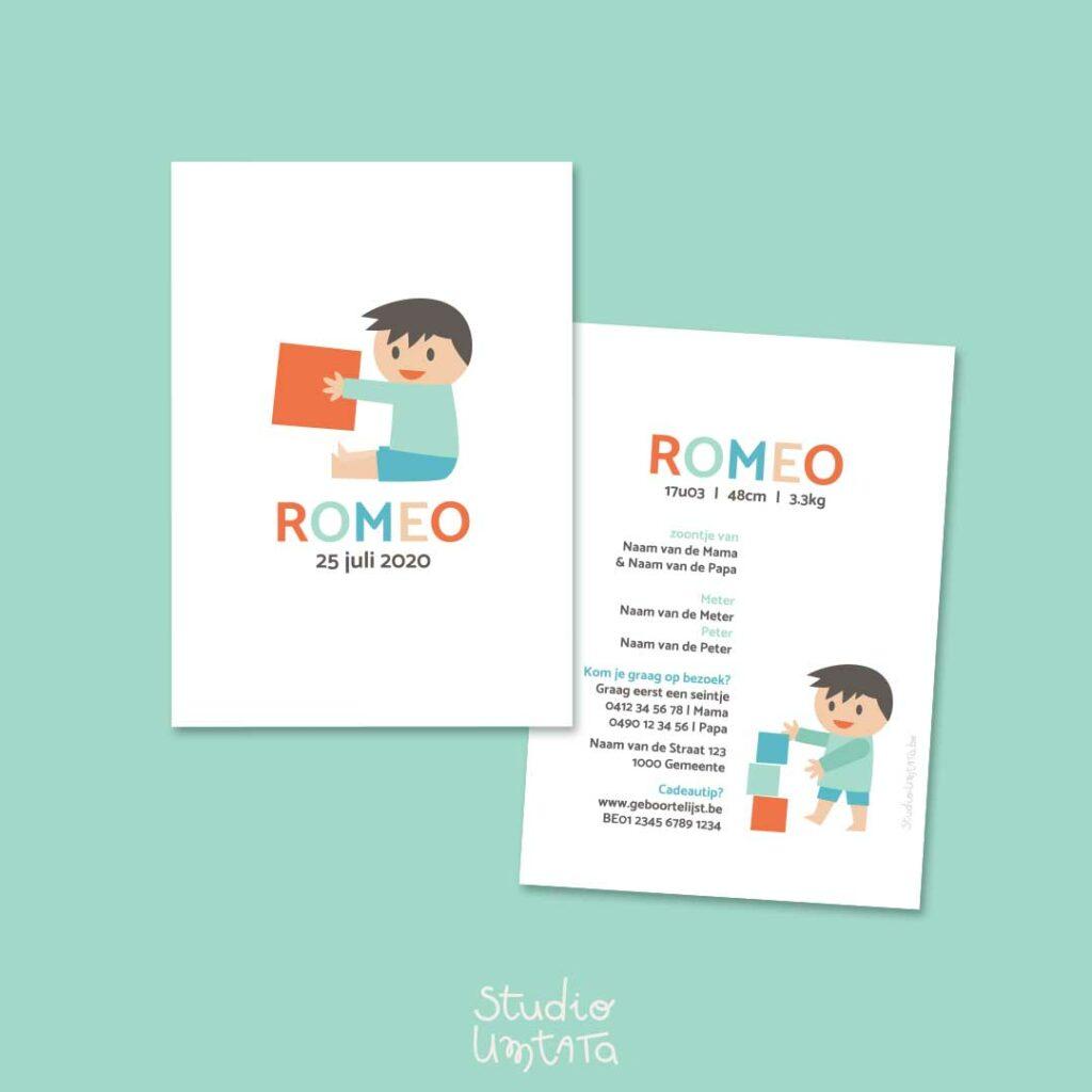 Geboortekaartje jongen met blokken Romeo Munt