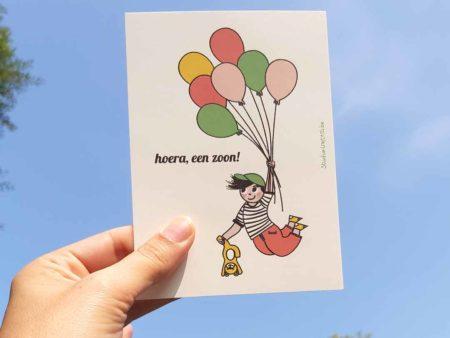 Wenskaart geboorte zoon Jongen met ballonnen