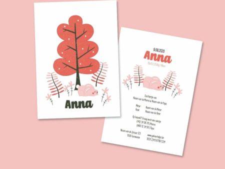 Lief geboortekaartje Anna Konijn in het bos