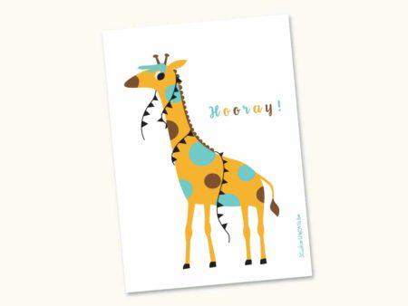 Wenskaart Feestbeest Giraf Hooray