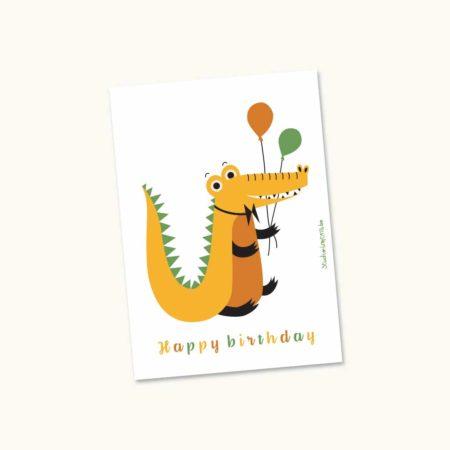 Wenskaart Feestbeest Krokodil Happy birthday