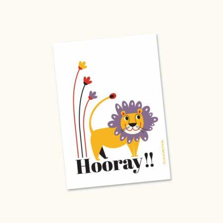 Wenskaart Leeuw Hooray!!