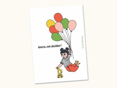 Wenskaart geboorte dochter - Meisje met ballonnen